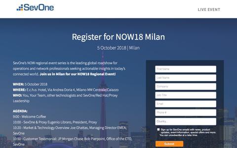 Screenshot of Landing Page sevone.com - NOW18 Milan - captured Sept. 21, 2018