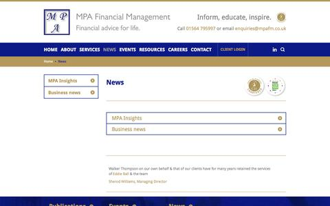 Screenshot of Press Page mpafm.co.uk - News   MPA Financial Management   Solihull - captured Oct. 4, 2014