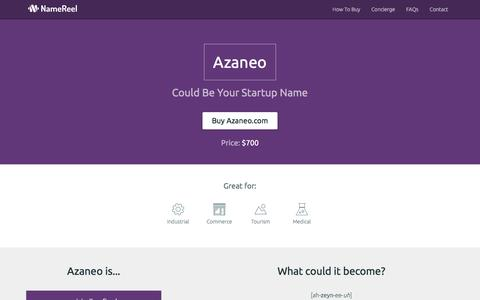 Screenshot of Home Page azaneo.com - Azaneo Could Be Your Startup Name » Expert Naming for Startups » NameReel - captured Feb. 6, 2016