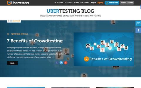 Screenshot of Blog ubertesters.com - Mobile app testing blog - captured Dec. 4, 2015