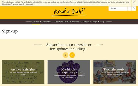 Screenshot of Signup Page roalddahl.com - Subscribe to the RoaldDahl.com newsletter - captured Oct. 30, 2014