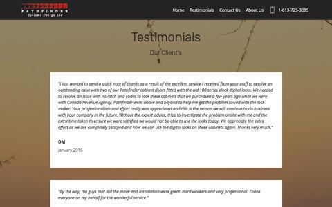 Screenshot of Testimonials Page pathfindersystemsdesign.com - Testimonials - captured Nov. 2, 2019