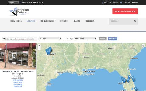Screenshot of Locations Page physicianpartnersofamerica.com - Locations | Physician Partners of America | Texas and Florida - captured Oct. 18, 2017