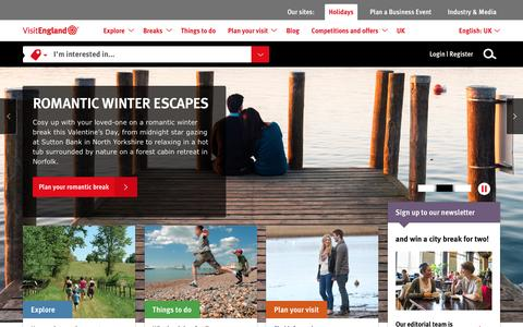 Screenshot of Home Page visitengland.com - Find ideas for holidays in England, days out and tourist information - VisitEngland.com - captured Jan. 17, 2016
