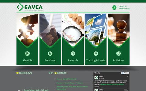 Screenshot of Home Page eavca.org - East Africa Venture Capital Association - captured Oct. 1, 2014