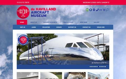 Screenshot of Home Page dehavillandmuseum.co.uk - de Havilland Aircraft Museum - captured Feb. 9, 2016