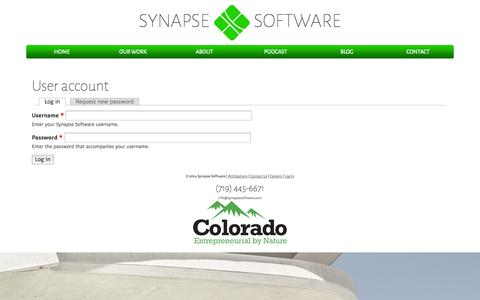Screenshot of Login Page synapsesoftware.com - User account | Synapse Software - captured Oct. 7, 2014