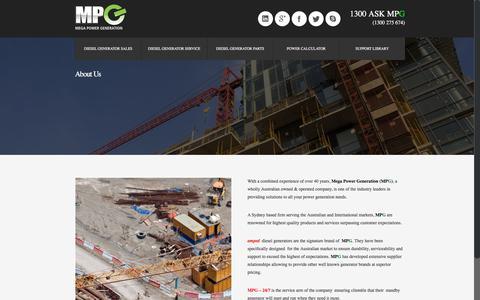 Screenshot of About Page mpgen.com.au - MPG Mega Power Generation Mega Power Generation - MPG - captured Dec. 31, 2016
