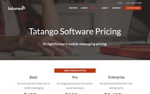 Screenshot of Pricing Page tatango.com - Tatango Mobile Marketing Pricing   Tatango - captured Jan. 5, 2017