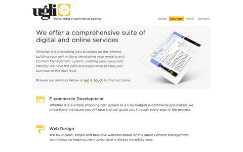 Screenshot of Services Page ugli.hk - Services | Ugli E-Commerce - captured Jan. 10, 2016