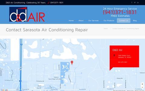 Screenshot of Contact Page ddair.com - Sarasota Air Conditioning Repair   D&D Air   Contact - captured Jan. 31, 2016