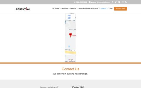 Screenshot of Contact Page cosential.com - Cosential Commercial CRM: Contact Us - captured Aug. 22, 2019