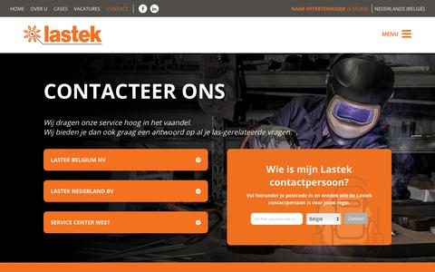 Screenshot of Contact Page lastek.be - Contact - Lastek : Lastek - captured Nov. 10, 2018