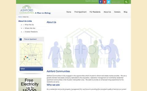 Screenshot of About Page ashfordco.com - Property Management Houston | Ashford Communities - captured Oct. 4, 2014