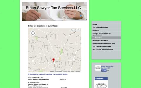 Screenshot of Maps & Directions Page ethansawyertax.com - Directions - Ethan Sawyer Tax Services LLC - Income Tax Preparation Firm in Malden MA 02148 - captured Oct. 3, 2014