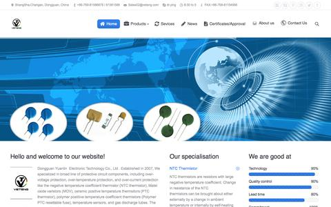 Screenshot of Products Page veteng.com - Dongguan Yuanlin  Electronic Technology Co., Ltd   NTC Thermistor Temperature Sensor Ceramic PTC Thermistor Polymer PTC Resettable Fuse Metal Oxide Varistor Gas Discharge Tube ESD Suppressor - captured Oct. 6, 2014