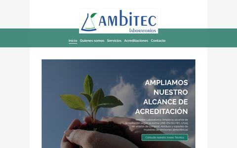 Screenshot of Home Page ambiteclaboratorios.com - AMBITEC LABORATORIOS: Laboratorio, Ingenería  y Consultoría Medioambiental y Agroalimentaria - captured Nov. 20, 2016