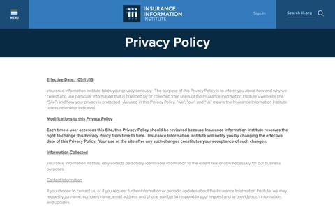 Screenshot of Privacy Page iii.org - Privacy Policy | III - captured Sept. 25, 2018