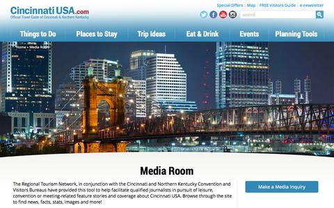 Screenshot of Press Page cincinnatiusa.com - Media Room | Cincinnati Regional Tourism Network - captured Sept. 24, 2014