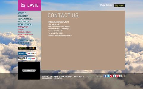 Screenshot of Contact Page lavieaccessories.com - Bags Shopping Online | Online Handbags | Bags Suppliers | Bags Manufacturer –  Contact LavieAccessories.com - captured Oct. 31, 2014