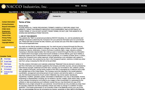 Screenshot of Terms Page nacco.com - NACCO Industries, Inc. - Contact Us - Terms of Use - captured Oct. 18, 2018