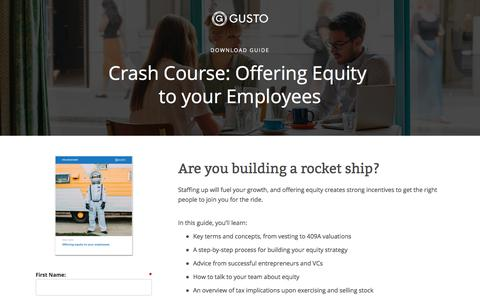 Screenshot of Landing Page gusto.com - Offering equity to your employees - captured July 22, 2017