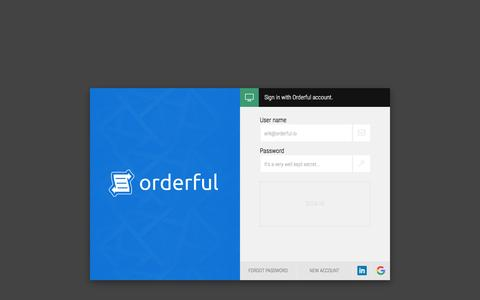 Screenshot of Login Page orderful.io - Orderful | EDI as it should be: in the cloud - captured May 8, 2017