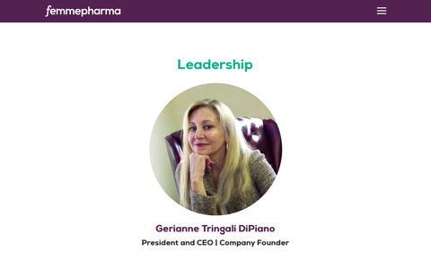 Screenshot of Team Page femmepharma.com - Leadership - Founder & CEO Gerianne Tringali DiPiano - FemmePharma - captured Oct. 10, 2018