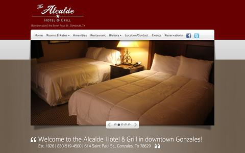 Screenshot of Home Page hotelalcalde.com - Alcalde Hotel and Grill | Downtown Gozales Hotel | Texas - captured Oct. 7, 2014