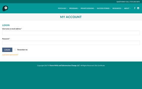 Screenshot of Login Page subconsciouschange.com - My Account - captured June 16, 2017
