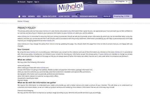 Screenshot of Privacy Page mijhola.com - Privacy - captured Oct. 31, 2014