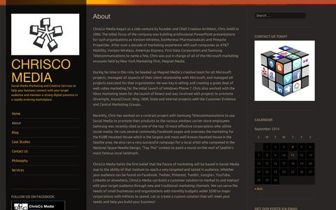 Screenshot of About Page wordpress.com - About | ChrisCo Media - captured Sept. 12, 2014
