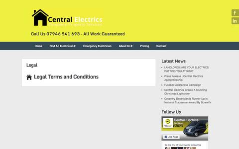 Screenshot of Terms Page centralelectrics.com - Legal - Central Electrics : Electricians In Coventry - captured May 15, 2017
