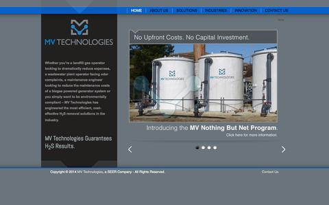 Screenshot of Home Page mvseer.com - Efficient Cost-effective Hydrogen Sulfide (H2S) Removal :: MV Technologies - captured Oct. 4, 2014