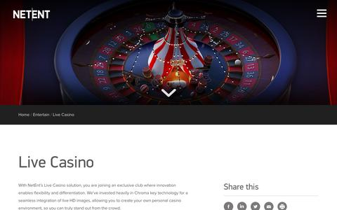Screenshot of netent.com - Live Casino | NetEnt | Better Gaming - captured March 29, 2016
