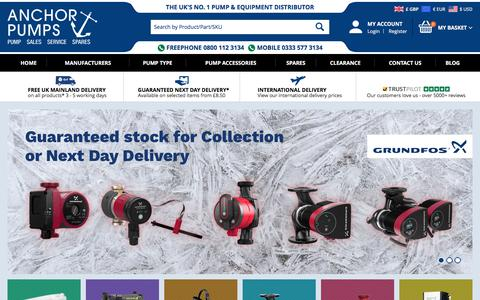 Screenshot of Home Page anchorpumps.com - Industrial Pumps, The UKs leading pump distributor - Anchor Pumps - captured July 13, 2018