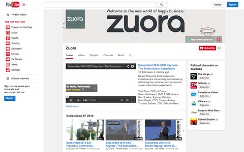 Screenshot of YouTube Page youtube.com - Zuora  - YouTube - captured Oct. 22, 2014