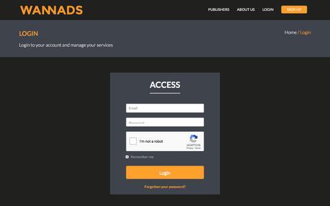 Screenshot of Login Page wannads.com - Wannads - captured Sept. 22, 2018