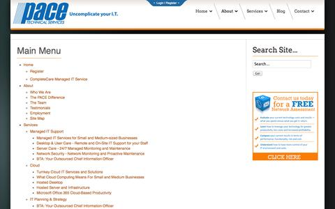 Screenshot of Site Map Page pacetechnical.com - Site Map | Pace Technical Services - captured Nov. 1, 2014