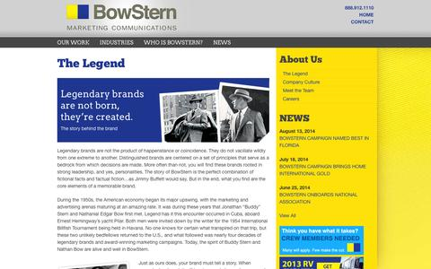 Screenshot of About Page bowstern.com - BowStern Marketing Communications: About Us: Our Legend - captured Oct. 1, 2014