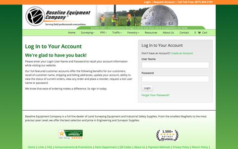 Screenshot of Login Page baselineequipment.com - Baseline Equipment Company - captured June 3, 2019
