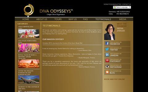 Screenshot of Testimonials Page divaodysseys.com - Diva Womens Luxury Holidays, Diva Luxury Holidays for Womens, Luxury Holidays - captured June 4, 2017