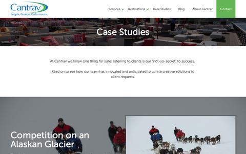 Screenshot of Case Studies Page cantrav.com - Destination Management Case Studies | Cantrav DMC Services - captured Jan. 24, 2016