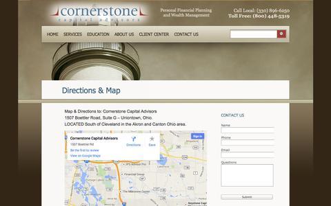 Screenshot of Maps & Directions Page ccadvisors.com - Directions & Map «  Cornerstone Capital Advisors - captured Oct. 3, 2014