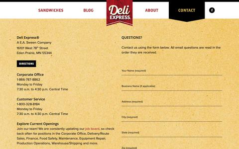 Screenshot of Contact Page deliexpress.com - Contact - Deli Express - captured Dec. 13, 2018