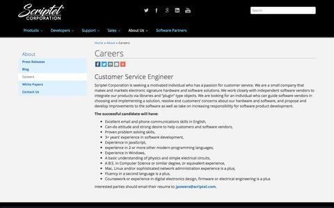 Screenshot of Jobs Page scriptel.com - Careers - Scriptel.com - captured Aug. 16, 2016