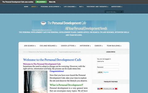 Screenshot of About Page thepersonaldevelopmentcafe.com - Welcome to the Personal Development Cafe - thepersonaldevelopmentcafe.com - captured Sept. 30, 2014