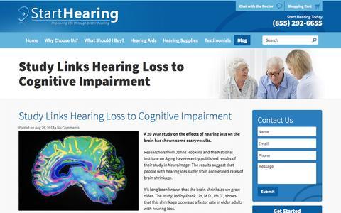 Screenshot of Blog starthearing.com - Hearing Loss Blog - Digital Hearing Aids | Start Hearing - captured Oct. 7, 2014
