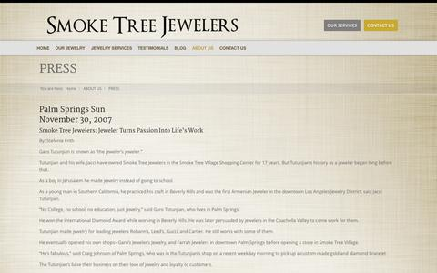 Screenshot of Press Page smoketreejewelers.com - Press | Men's Jewelry Palm Springs | Women's Jewelry - captured Oct. 26, 2014