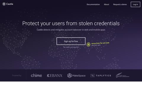 Screenshot of Home Page castle.io - Castle — The easiest way to protect your users - captured June 18, 2017